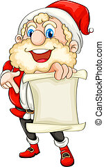 Santa holding a paper scroll - Illustration of Santa holding...