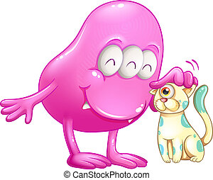 A pink beanie monster with a cat - Illustration of a pink...