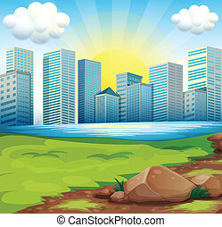 A view of the tall buildings under the bright sun -...