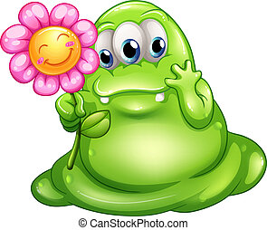 A caring greenslime monster - Illustration of a caring...
