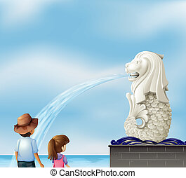 Two kids near the statue of Merlion - Illustration of the...