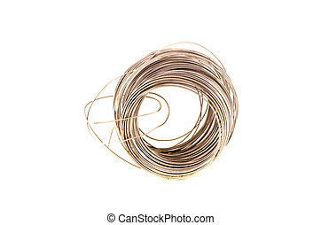 roll of metal wire isolated on white