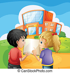 Kids arguing in front of the school building - Illustration...