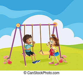 A boy and a girl at the playground - Illustration of a boy...