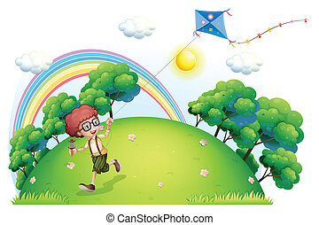 A boy playing with his kite at the hilltop - Illustration of...