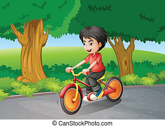 A boy biking near the big trees - Illustration of a boy...