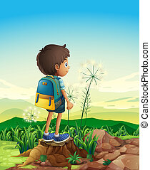 A boy with a backpack standing above a stump - Illustration...