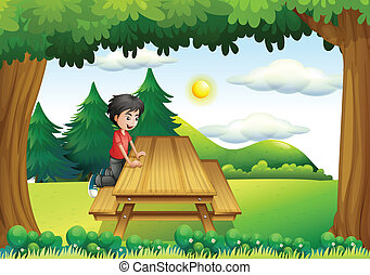 A wooden bench with a young boy at the forest - Illustration...