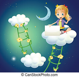 A girl sitting above a cloud holding an empty signage -...