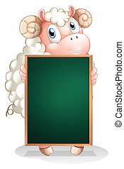 A shy sheep holding an empty blackboard - Illustration of a...