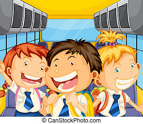 Happy kids inside the schoolbus - Illustration of the happy...