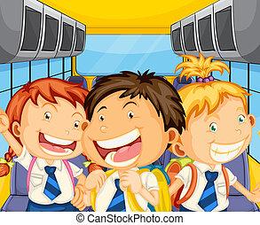 Happy kids inside the schoolbus