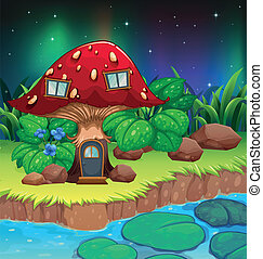 A red mushroom house near the river with waterlilies -...