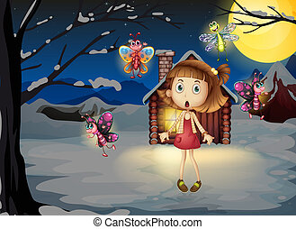 A young girl amazed by the butterflies - Illustration of a...