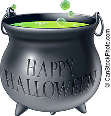 Happy Halloween witch cauldron - Cartoon Halloween witch's...