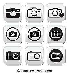 Camera vector buttons set - Take picture, camera buttons set...