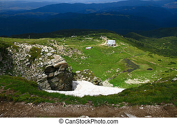 High mountains - Bulgarian mountains and white clouds in the...