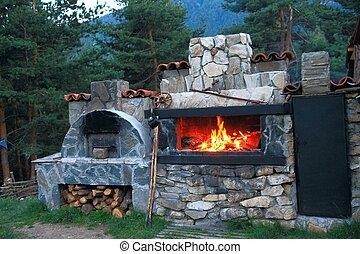 barbacoa, horno, hecho, piedra, Cou