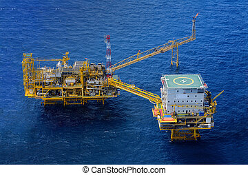 The offshore oil rig platform - Top view offshore oil rig...