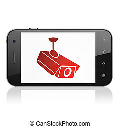 Protection concept: Cctv Camera on smartphone - Protection...