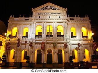 """The """"santa casa de misericordia"""" in the senado square in Macau."""