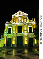 Sao Domingos, St. Dominic's Church in Macau at night.