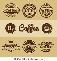 Coffee labels and badges. Retro style coffee vintage...