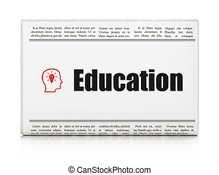 Education news concept: newspaper headline Education and Head With Lightbulb icon on White background, 3d render
