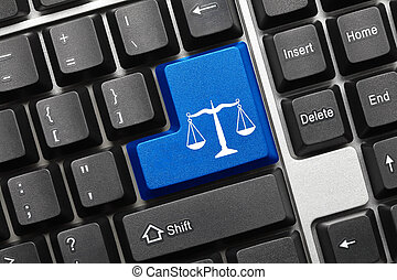 Conceptual keyboard - Law symbol blue key - Close up view on...