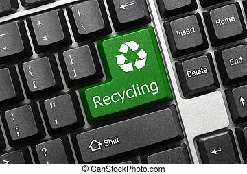 Conceitual, teclado, -, reciclagem, (green, key)