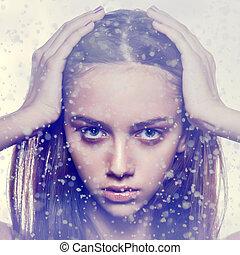 close-up portrait women - winter portrait fashion face...