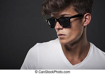 retrato, hombre, hipster, anteojos