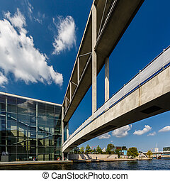 German Chancellery (Bundeskanzleramt) and Bridge over Spree...