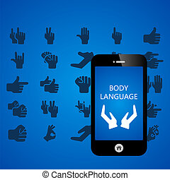 Body language mobile phone applications vector illustration...