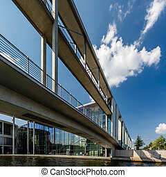 German Chancellery Bundeskanzleramt and Bridge over Spree...