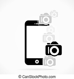 Photography - Mobile phone photography logo abstract vector...