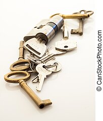 heap of keys isolated on white