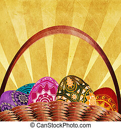 Easter card with basket of eggs - Grunge easter card with...