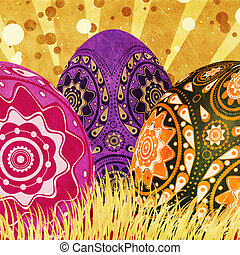 Easter card with eggs - Grunge Easter card of gold and red...