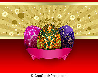 Easter card with three eggs - Easter card of gold and red...