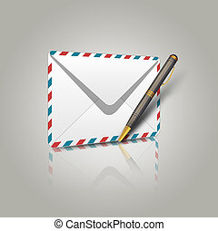 Envelope and pen - Illustration of postal envelope and pen...