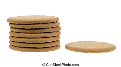 delicious tea biscuits isolated on a white background