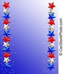4, julio, patriótico, frontera, estrellas