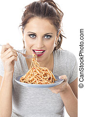 Model Released Attractive Young Woman Eating Spaghetti