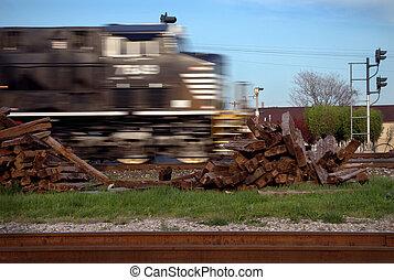 Fast Train - Black Horse Blurred Locomotive