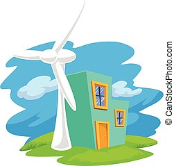 Vector of wind turbine next to a house.