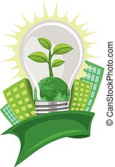 Vector of green leaf and earth in lightbulb, in front of buildings.