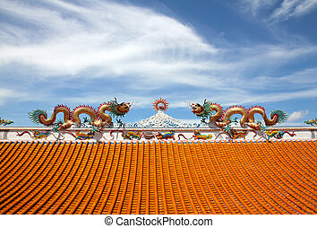Statue of twin dragons on the roof of Chinese temple.
