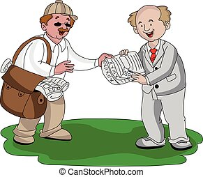 Vector of vendor selling newspaper - Vector illustration of...