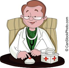 Vector of doctor ringing table bell at clinic. - Vector...